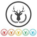 Deer head with big antlers in laurel wreath ring icon, color set Royalty Free Stock Photo