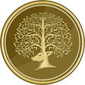 Deer Head Tree Antler Gold Coin Retro