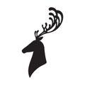 Deer head vector illustration elk silhouette Royalty Free Stock Photo
