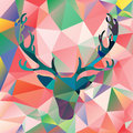 Deer head vector illustration elk silhouette polygonal mosaic abstract background Royalty Free Stock Photo