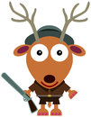 Deer hunter a dressed like a and holding a rifle Royalty Free Stock Photography