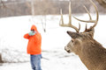 Deer hunter taking aim at a whitetail deer in orange focus on Royalty Free Stock Image