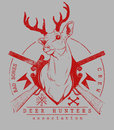 Deer hunters vector illustration ideal for printing on apparel clothes Stock Photography