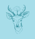 Deer illustration hand drawn vector of isolated on turquoise background Royalty Free Stock Images