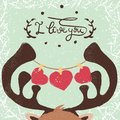 stock image of  Deer illustration. Love and heart.