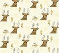 Deer and lighting bolt seamless pattern