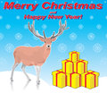 Deer and Merry Christmas Royalty Free Stock Image