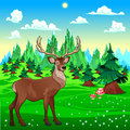 Deer in mountain landscape vector cartoon illustration Royalty Free Stock Photos