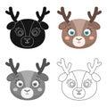 Deer muzzle icon in cartoon style isolated on white background. Animal muzzle symbol stock vector illustration.