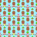 Deer New Year seamless pattern