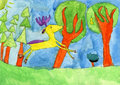 Deer running in forest aquarelle drawing of a six years old child where a yellow is free Royalty Free Stock Image
