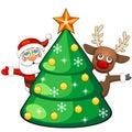 Deer and santa claus with christmas tree cartoon reindeer behind fir Royalty Free Stock Photos