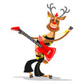 Deer of Santa Claus playing the guitar