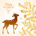 Deer silhouette illustration of beautiful with sparrows Royalty Free Stock Photo