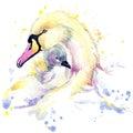 Deer T-shirt graphics, deer illustration with splash watercolor textured background.Swan T-shirt graphics, Swan illustration with Royalty Free Stock Photo