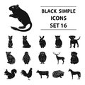 Deer, tiger, cow, cat, rooster, owl and other animal species.Animals set collection icons in black style vector symbol Royalty Free Stock Photo