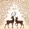 Deer trees illustration silhouettes of two beautiful Stock Images