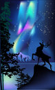 Deer under aurora illustration Royalty Free Stock Photos