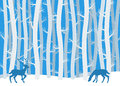 Deer in winter forest vector illustration of Stock Image
