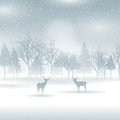 Deer in a winter landscape silhouettes of Stock Images