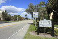 Deerfield beach welcome sign florida february in the city of estimated population in enjoys warm tropical weather Royalty Free Stock Photo