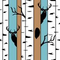 Deers in a birch forest. Seamless pattern with animal silhouettes