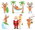 Deers and Santa. Stock Photos
