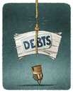Defaulter debts pile of unpaid about to fall over the Royalty Free Stock Photos