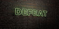 DEFEAT -Realistic Neon Sign on Brick Wall background - 3D rendered royalty free stock image
