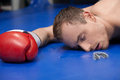 Defeated boxer close up of lying down on the boxing ring with closed eyes Royalty Free Stock Photo