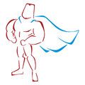 Defender in costume muscular super hero standing a classic pose Stock Image