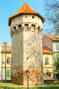 Defense tower in sibiu slightely degraded on the cetatii street Stock Images
