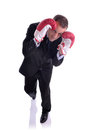 Defensive businessman image isolated on white of a business in a boxing pose Royalty Free Stock Photo