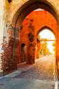 Defensive wall surrounding the small town of Cittadella at sunrise. Royalty Free Stock Photo