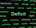 Deficit debts means financial obligation and arrears showing finance owning liabilities Royalty Free Stock Photography