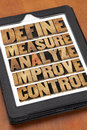 Define measure analyze improve control concept of continuous improvement process or cycle on a digital tablet Stock Photography