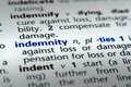 Definition of Indemnity Stock Image
