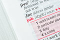 Definition of the word job as it appears in dictionary Stock Image