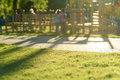 Defocused and blurred image for background children`s playground,activities at public park