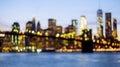 Defocused view of the New York skyline from Brooklyn Bridge Royalty Free Stock Photo