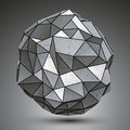 Deformed metallic object created from geometric figures spatial design model Royalty Free Stock Image