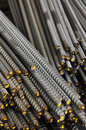 Deformed steel bars stock background Stock Photo