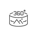 360 Degree Panorama Image sign. line icon, outline vector logo i