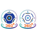 360 degree panoramic video camera line icon, outline and solid v