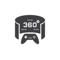 360 degree panoramic video game icon vector, solid logo illustra
