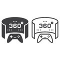 360 degree panoramic video game line icon, outline and solid vec