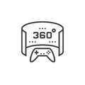 360 degree panoramic video game line icon, outline vector logo i