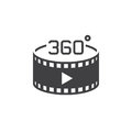 360 degree panoramic video sign. vector icon, solid logo illustr