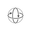 360 degree rotation arrows line icon, virtual reality outline ve