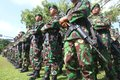 Degree of troops before asean para games indonesian army and police officer doing in solo central java indonesia Stock Photo